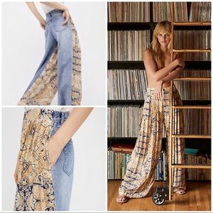 Free People Coming & Going Printed Wide Leg Jeans